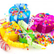 Royalty-Free Stock Photo: Colorful presents with confetti