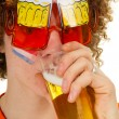 Dutch sports fan is drinking beer — Stock Photo