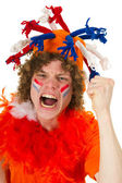 Boy is supporting the Dutch team — Stockfoto