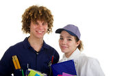 Young carpenter and female cook at school — Stock Photo