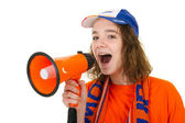 Girl is supporting the Dutch — Stock Photo