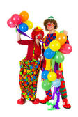 Couple funny clowns with balloons — Stock Photo