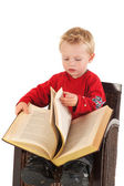 Little boy reading in a book — Stock Photo