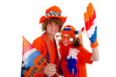 Boy is supporting the Dutch — Стоковое фото