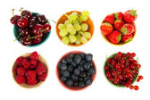 Colorful bowls fresh summer fruit — Stock Photo