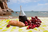 Wine fruit and bread — Stock Photo