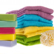 Colorful towels and soap — Stock Photo
