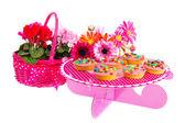 Birthday cakes and flowers — Stock Photo