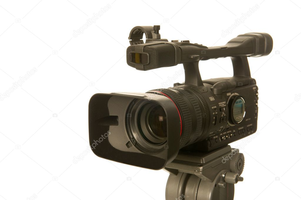 Professional video camera in tripod on white background  Stock Photo #6082731