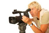 Video camera woman — Stock Photo