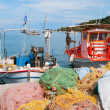 Fishing boats in Greek harbor — Stock Photo