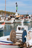 Detail of a fishing boat in Greek harbor — Stock Photo
