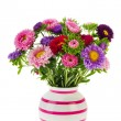 Bouquet New England Asters in vase — Stock Photo