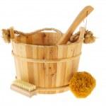 Wooden sauna bucket — Stock Photo