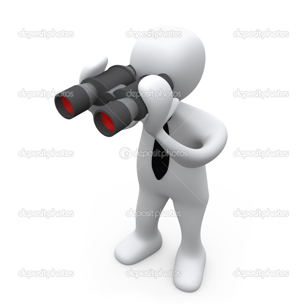 3D Business Person Looking Through Binoculars .  Stock Photo #5822120