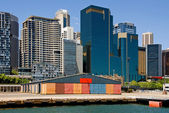 Wharf & City Buildings — Stock Photo
