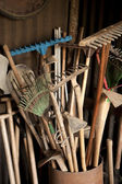 Tools in dark shed — Stock Photo