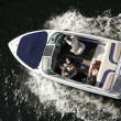 Top view at motor boat — Stock Photo