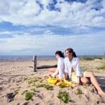 Girlfriends on a beach. — Stock Photo