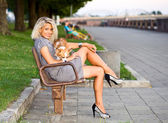 Woman with chihuahua on a bench. — Stok fotoğraf