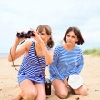 Girls on a beach. — Stock Photo