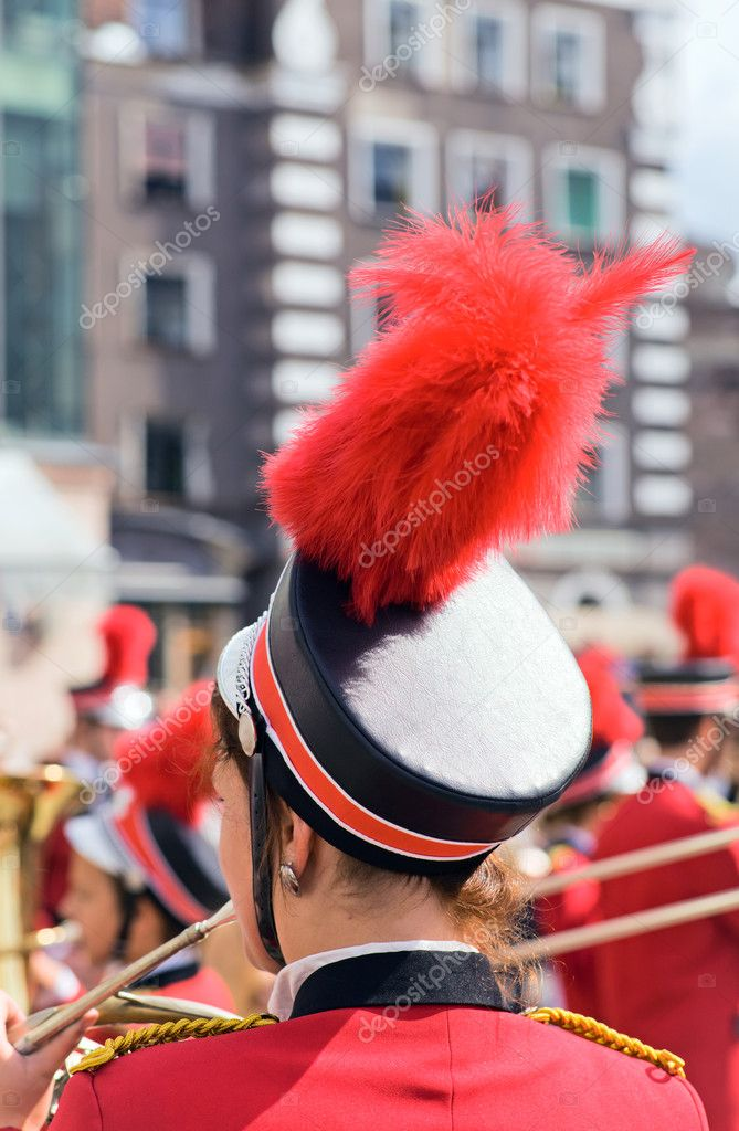 Wind band in red uniform.  Stock Photo #6472678