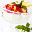 Natural yogurt with fresh fruits — Stock Photo