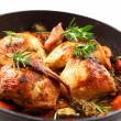 Roasted chicken with vegetable - Stock Photo