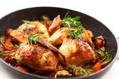 Roasted chicken with vegetable — Stock Photo