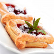 Cherry puff pastry - Stock Photo