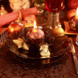 Luxury place setting for Christmas - Stock Photo