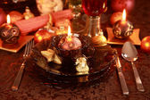 Luxury place setting for Christmas — Stock Photo