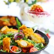 Gourmet salad with curry chicken stripes — Stock Photo