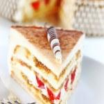 Tiramisu birthday cake — Stock Photo