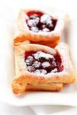 Cherry puff pastry — Stock Photo