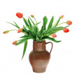 Red tulips in old fashioned jug isolated on white background — Stock Photo