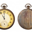 Old antique pocket watch isolated on white background. Clipping path includ — Stock Photo