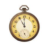 Relógio de bolso de antigo velho isolado no fundo branco — Foto Stock