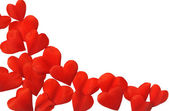 Petals in heart shape over white background - frame. Clipping path included — Stock Photo
