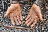 Detail of dirty hands - blacksmith — Stock Photo