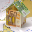 Euro house on chart - Stock Photo