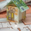 Euro house on blueprint plan — Stock Photo