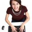 Smiling young woman in the office — Stock Photo
