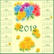 Stock Vector: Calendar 2012 with flowers