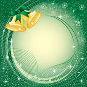 Złote dzwonki boże narodzenie na zielony — Wektor stockowy