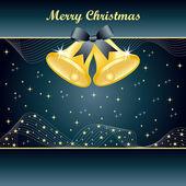 Gold christmas bells on Slate Blue — Stock Vector