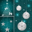 Christmas balls, tree and stars — Vector de stock #6381831