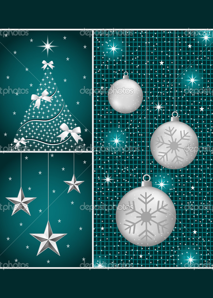 Christmas balls in silver with snowflakes, xmas tree and hanging stars on a dark blue themed background. — Stock Vector #6381831