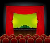 Stage and the screen in an empty cinema hall. — Stock Vector