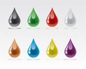 Set from multicoloured drops with reflections — Stock Vector